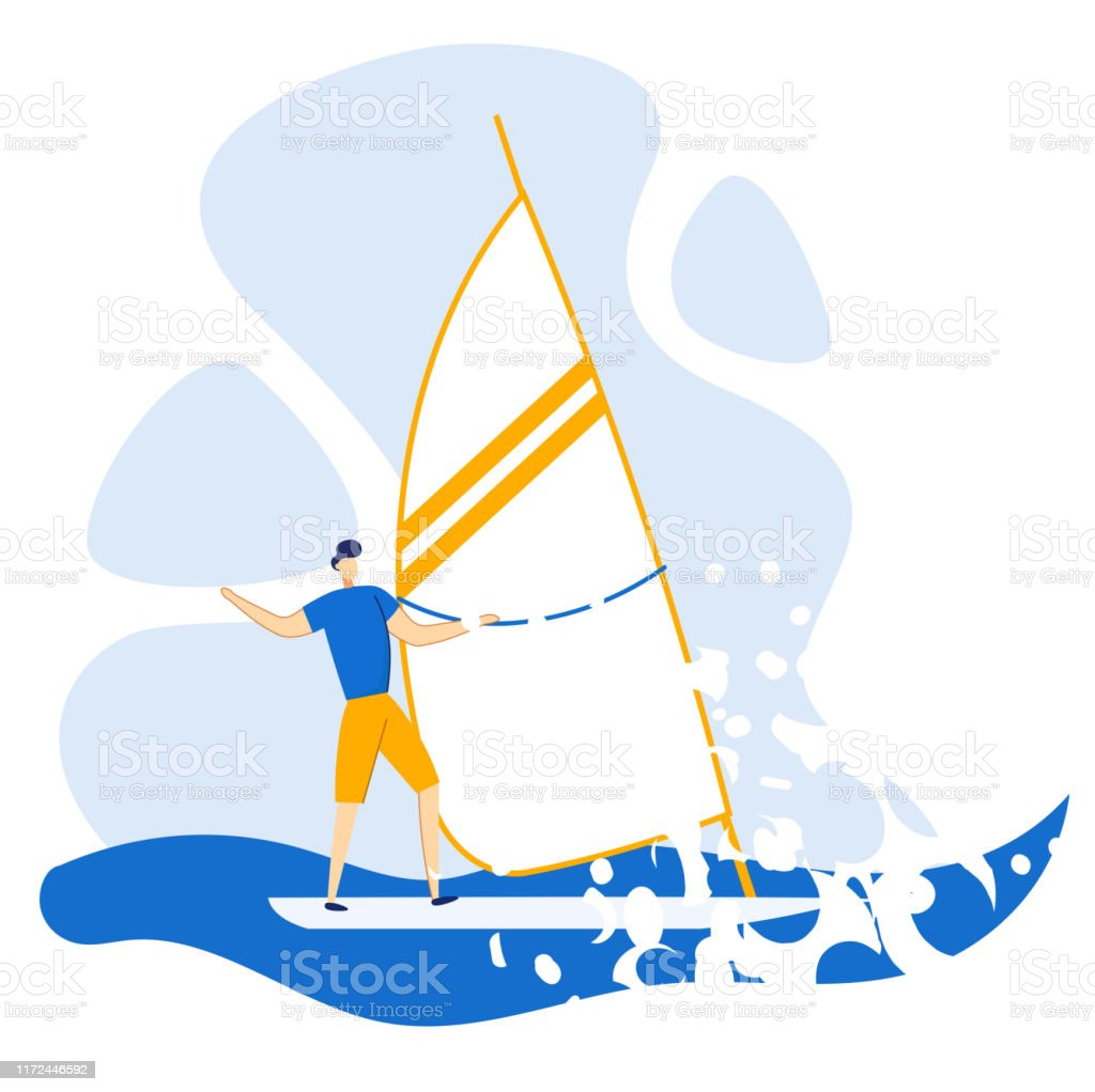 Reklam Flyer segling på sommaren på Sea flat. - Royaltyfri Aktiv livsstil vektorgrafik