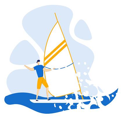 Reklam Flyer Segling På Sommaren På Sea Flat-vektorgrafik och fler bilder på Aktiv livsstil