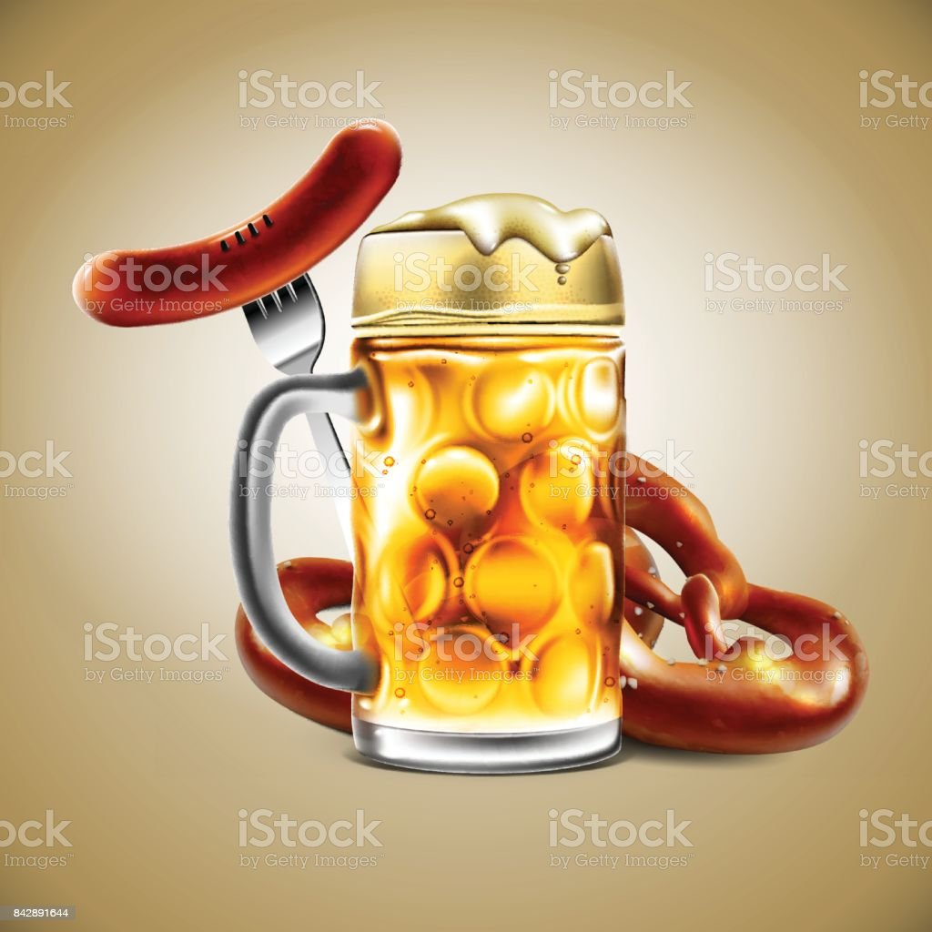 Advertising food and drink elements for traditional beer festival Oktoberfest. Beer glass, sausage and pretzel.Highly detailed illustration. vector art illustration