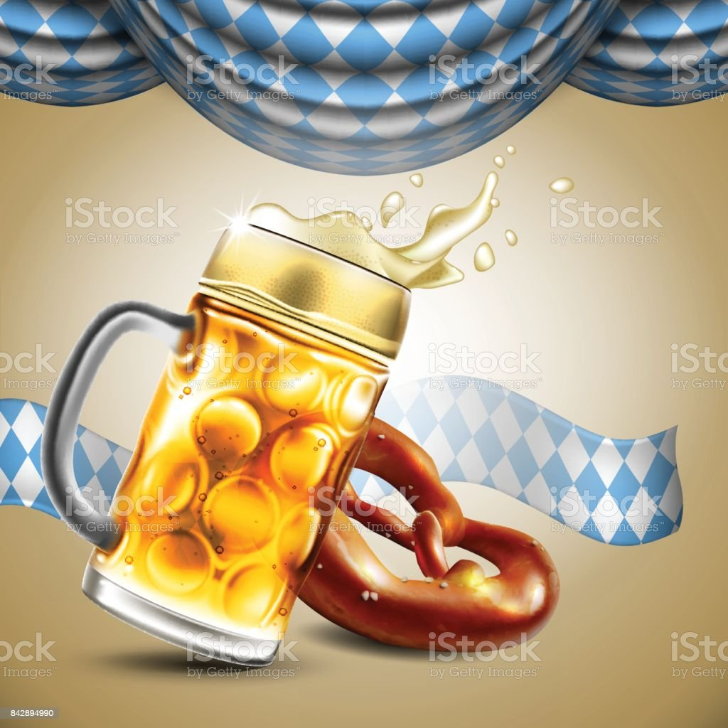 Advertising food and drink elements for traditional beer festival Oktoberfest. Highly detailed illustration. vector art illustration