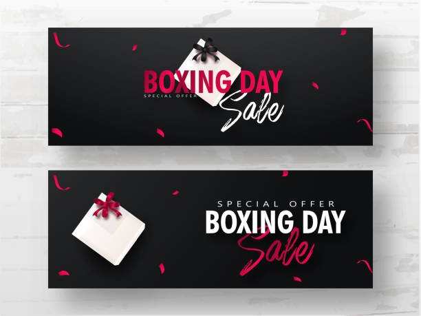 Advertising header or banner set with gift box on black background for Boxing Day Sale. vector art illustration