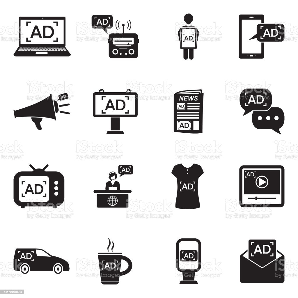 Advertising Icons. Black Flat Design. Vector Illustration. vector art illustration