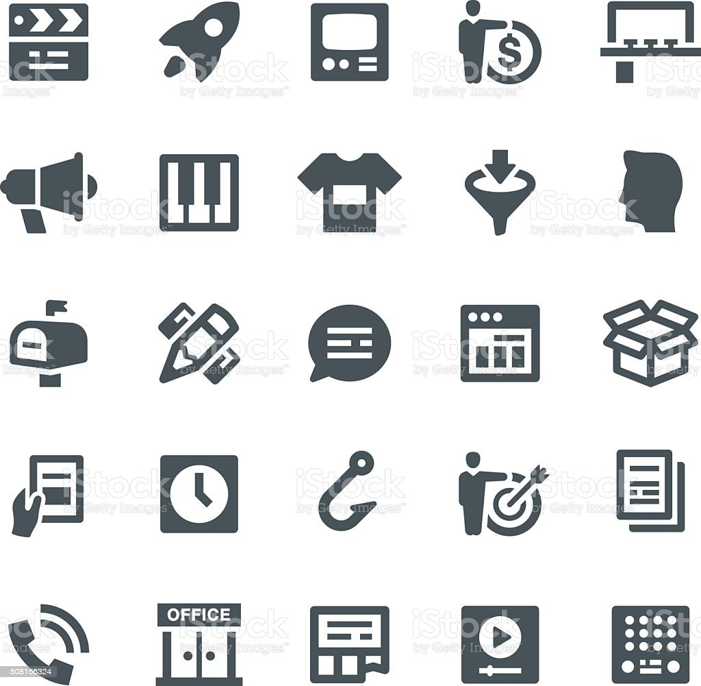 Advertising Icons vector art illustration
