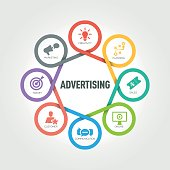 Advertising infographic with 8 steps, parts, options