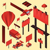 Advertising isometric elements. Billboard, hot air balloon, truck, banner, sign, umbrella, car, formula one car. Isolated and ready to use.