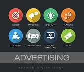 Advertising chart with keywords and icons. Flat design with long shadows
