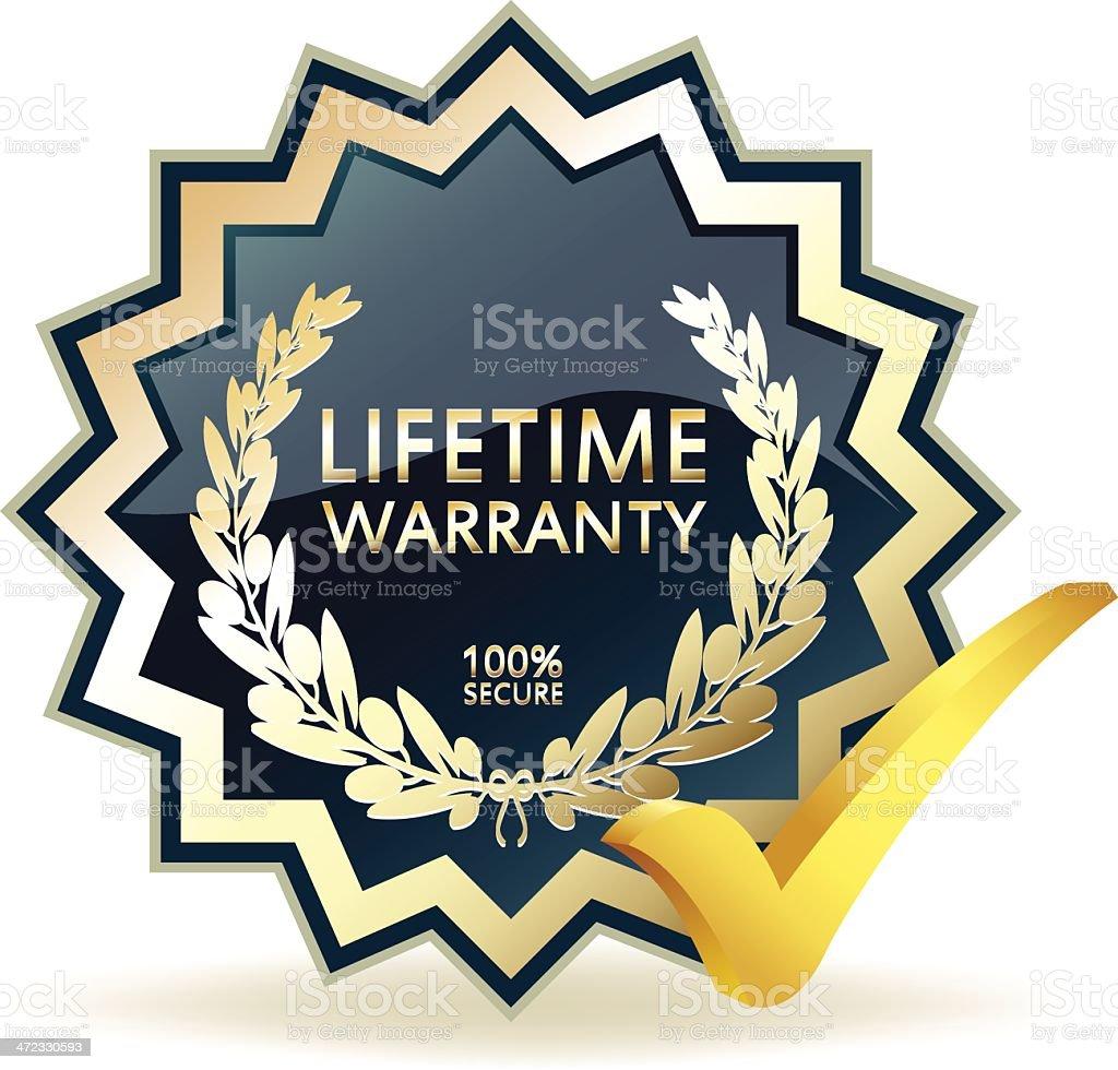 Advertising Lifetime Warranty Badge royalty-free stock vector art
