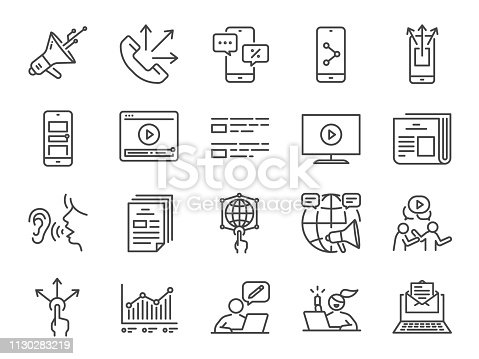 Advertising line icon set. Included icons as advertise, online marketing, blogger, influencer, mobile marketing and more.
