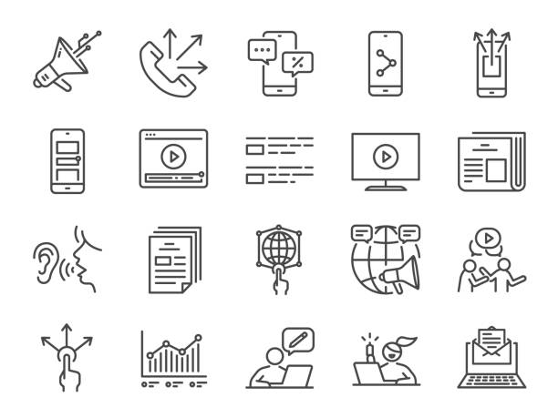 Advertising line icon set. Included icons as advertise, online marketing, blogger, influencer, mobile marketing and more. Advertising line icon set. Included icons as advertise, online marketing, blogger, influencer, mobile marketing and more. digital marketing stock illustrations