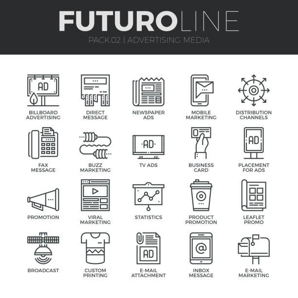 Publicité média Futuro ligne Icons Set - Illustration vectorielle