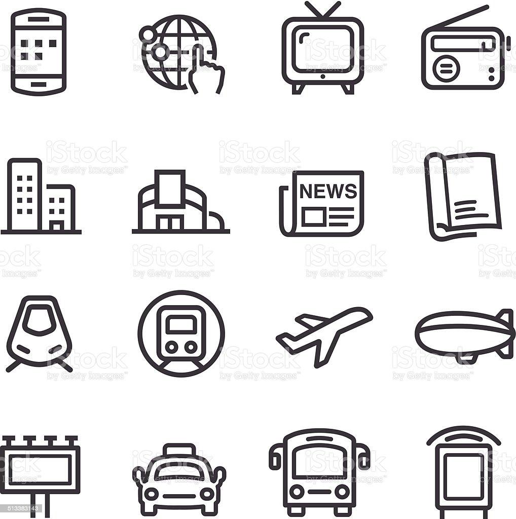 Médias et icônes publicitaires-Série ligne - Illustration vectorielle