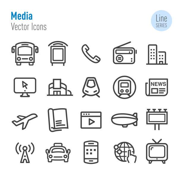 ilustrações de stock, clip art, desenhos animados e ícones de advertising media icons - vector line series - online shopping