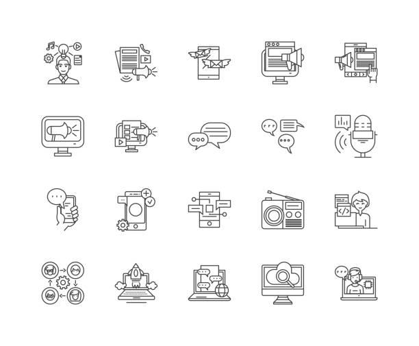 ilustrações, clipart, desenhos animados e ícones de anunciando ícones da linha dos meios, sinais, jogo do vetor, conceito da ilustração do esboço - mobile