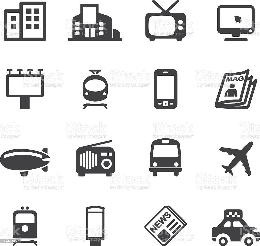 Advertising Media Silhouette icons | EPS10 vector art illustration