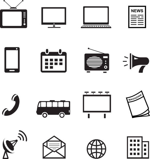 bildbanksillustrationer, clip art samt tecknat material och ikoner med advertising media silhouette icons, marketing, television, radio and internet content - billboard train station