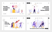 Advertising Megaphone Concept Banner. Characters Partnership Meeting. Man and Woman Programmer Coding Mobile App Landing Page. Rich Businessman with Stack of Money. Vector flat cartoon illustration