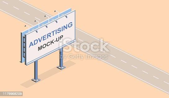 istock Advertising mock-up. Isometric street billboard. Outline vector commercial eps 10 internet illustration, marketing web site landing page background. Media poster template 1179968209