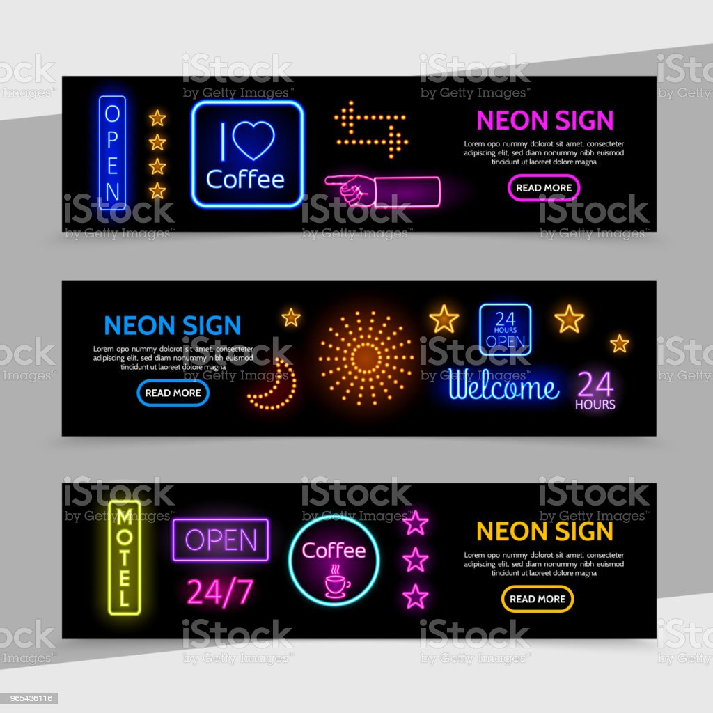 Advertising Neon Signs Horizontal Banners royalty-free advertising neon signs horizontal banners stock vector art & more images of banner - sign
