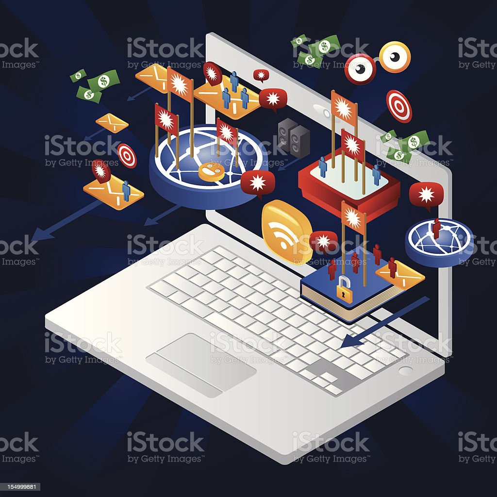 Advertising online coming out from a laptop royalty-free stock vector art