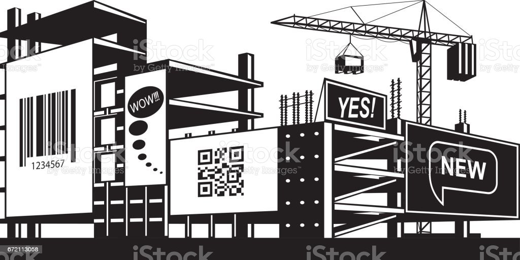 Advertising panels on the construction of a building vector art illustration
