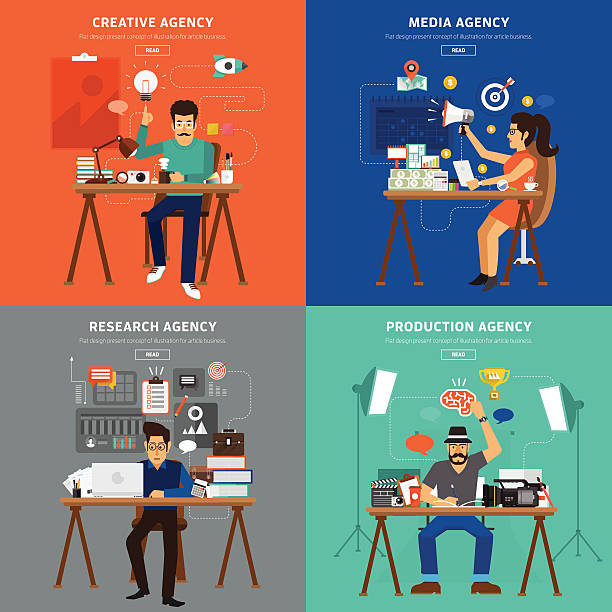 werbung personen - reisebüro stock-grafiken, -clipart, -cartoons und -symbole