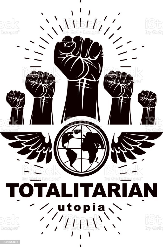 Advertising poster composed with raised clenched fists of angry people and Earth globe, vector illustration. People demonstration, fighting for their rights and freedom. Social revolution concept. vector art illustration