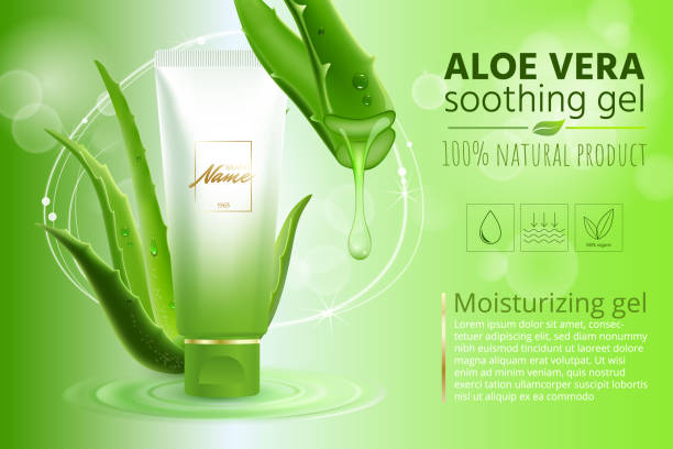 Advertising poster for cosmetic product for catalog, magazine. Vector design of cosmetic package.Moisturizing cream, gel, body lotion with aloe vera extract . Vector illustration with isolated objects vector art illustration