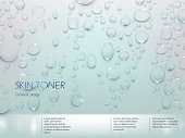 Advertising poster for the promotion of moisturizing premium product, light blue background with with the texture of water droplets. Vector realistic design for packaging skin toner