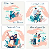 Advertising Poster Inscription with Love and Care. Set Banner is Written Happy Parents, with Love, Love and Care. Insurance Services for Large Families. Protection and Strong Family Relationships.