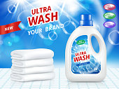 Advertising poster of cleaning services. Vector realistic design template. Advertising detergent, hygiene domestic cleaner for wash illustration