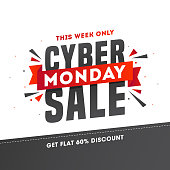 Advertising poster or template design with 60% discount offer for Cyber Monday Sale.