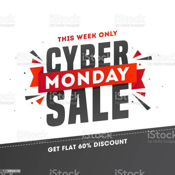 Advertising Poster Or Template Design With 60 Discount Offer For Cyber Monday Sale Stock Illustration - Download Image Now