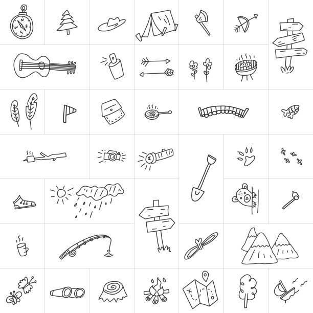 Werbeplakat Set Skizze von Hand gezeichnet Lager. – Vektorgrafik