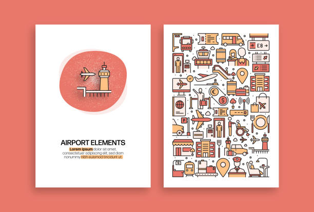 Advertising Related Design. Modern Vector Templates for Brochure, Cover, Flyer and Annual Report. Advertising Related Design. Modern Vector Templates for Brochure, Cover, Flyer and Annual Report. airport symbols stock illustrations