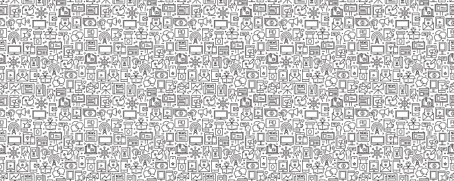 Advertising Related Seamless Pattern and Background with Line Icons