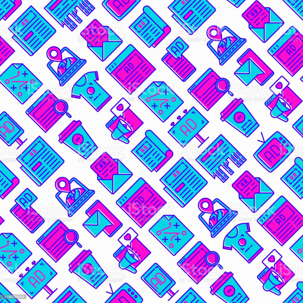 Advertising seamless pattern with thin line icons: billboard, street...