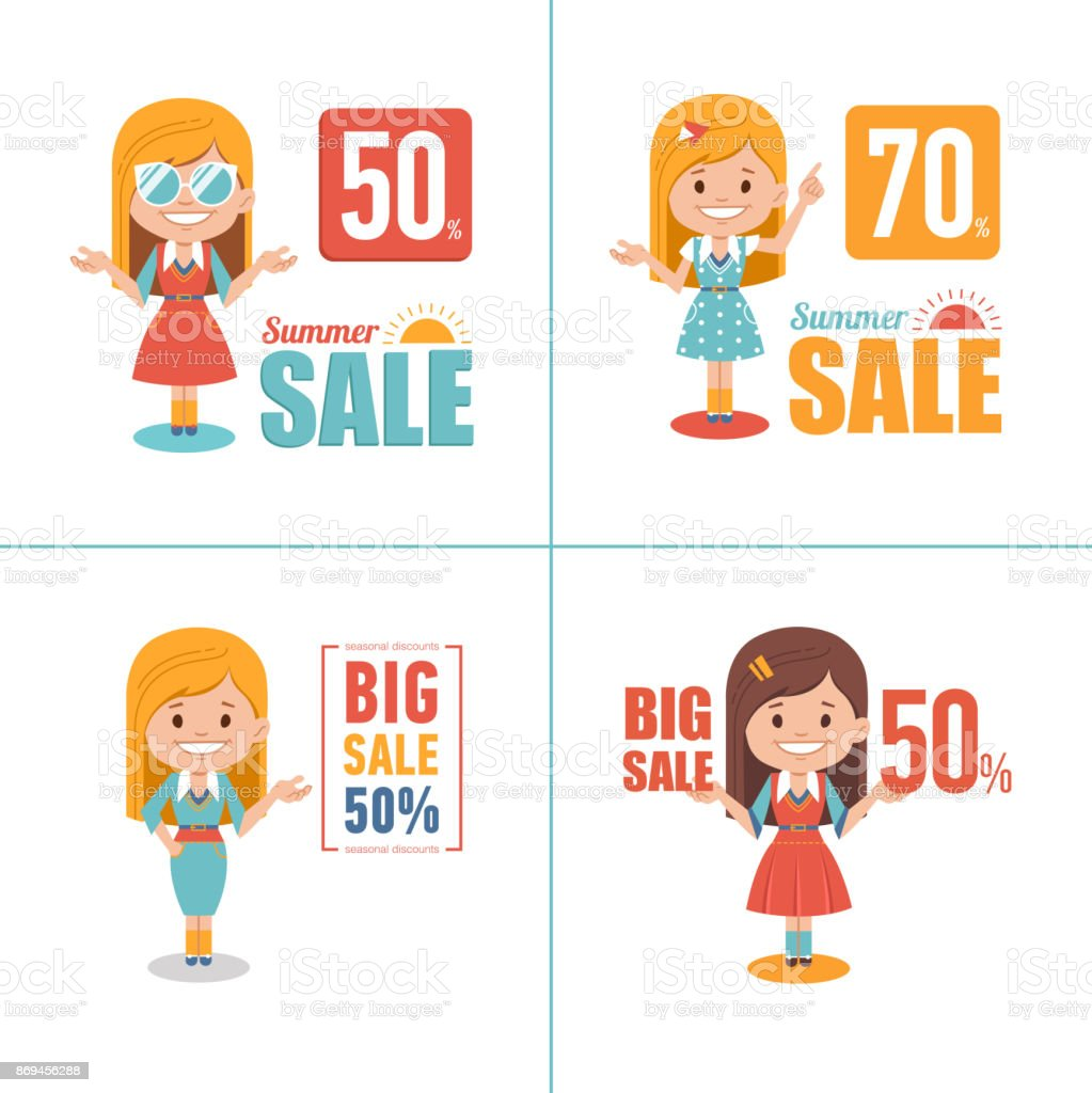 Advertising shopping illustrations with girl characters. Big summer sale banners. Big sale 50. Seasonal sale. vector art illustration