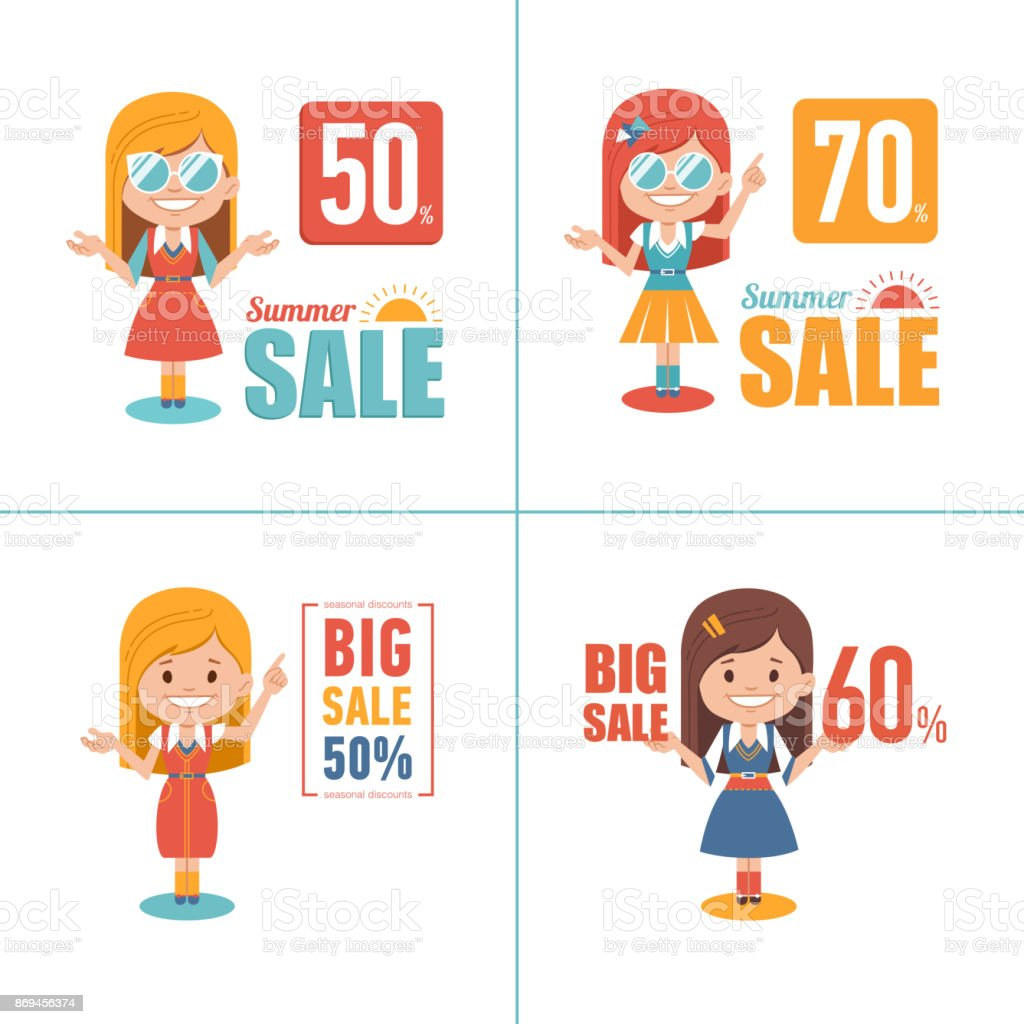 Advertising shopping illustrations with girl characters. Big summer sale banner. Big sale 70. Seasonal sale. vector art illustration