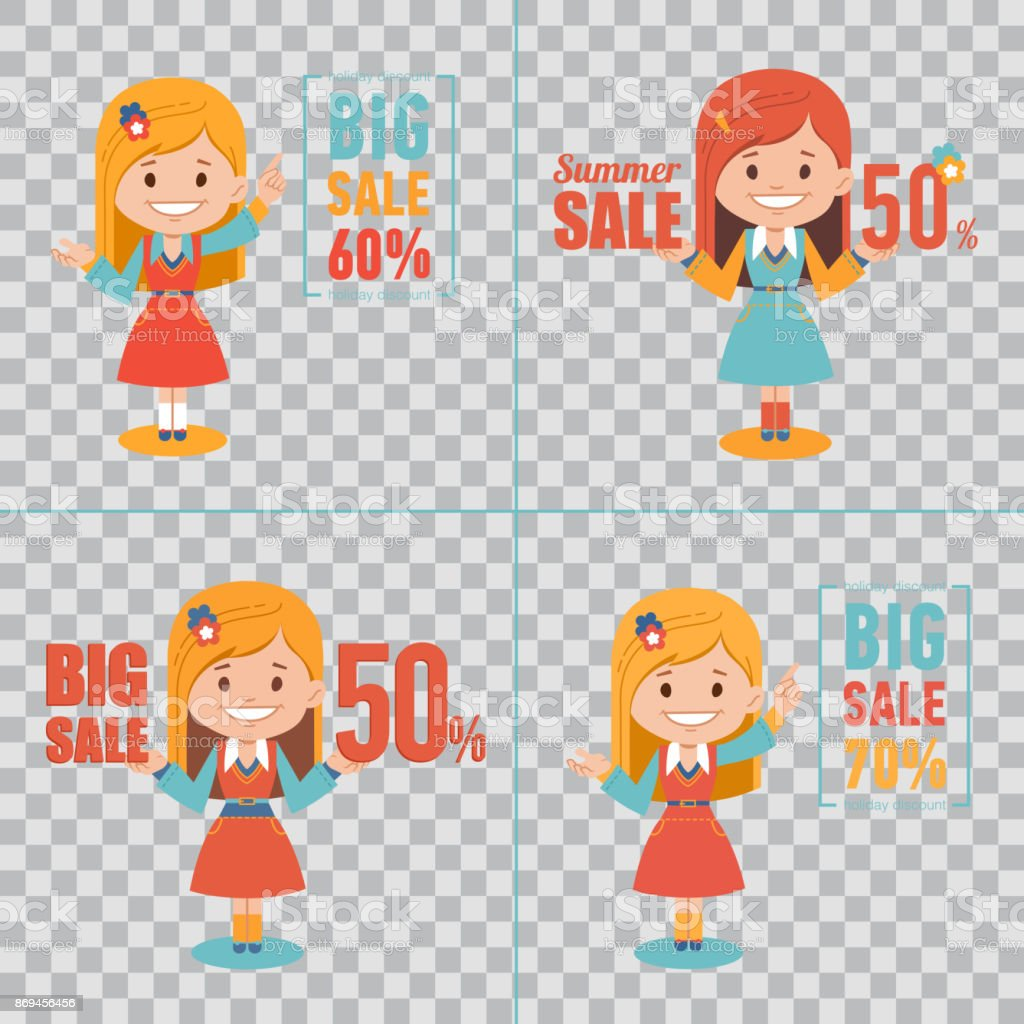 Advertising shopping illustrations with girl characters on transparent background. Big summer sale banner. Big sale 50 vector art illustration