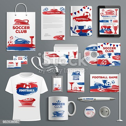 Advertising soccer football club vector icons