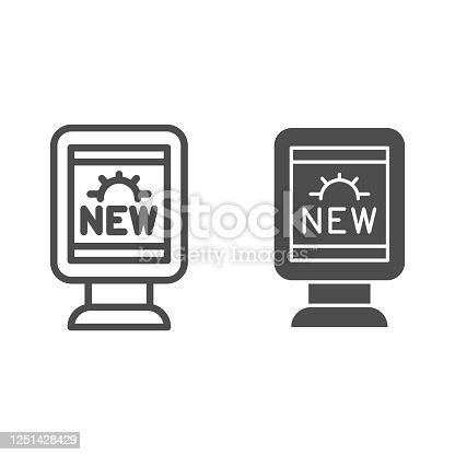 istock Advertising stand line and solid icon, marketing concept, street signboard with advertisement sign on white background, outdoor advertising icon in outline style for mobile, web. Vector graphics. 1251428429