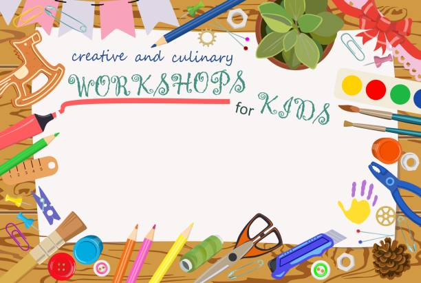 advertising template: handmade and creative classes for children. banners. vector - art and craft stock illustrations