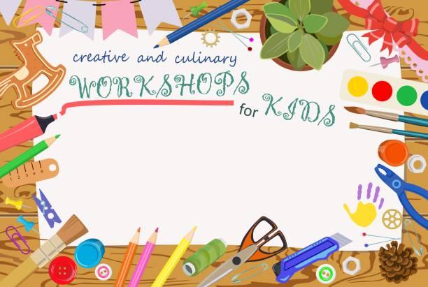 광고 템플릿: 어린이 위한 수 제이 고 창의적인 수업. 배너입니다. 벡터 - 예술 공예품 stock illustrations