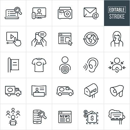 Advertising Thin Line Icons - Editable Stroke
