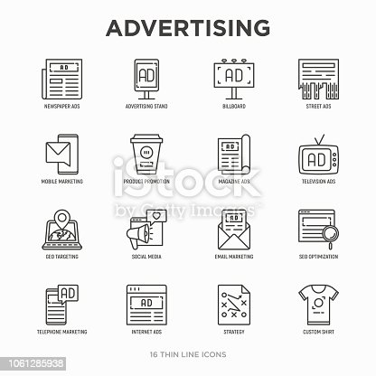 Advertising thin line icons set: billboard, street ads, newspaper, magazine, product promotion, email, GEO targeting, social media, strategy, custom shirt, internet, banner. Vector illustration.