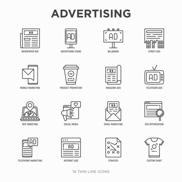 advertising thin line icons set: billboard, street ads, newspaper, magazine, product promotion, email, geo targeting, social media, strategy, custom shirt, internet, banner. vector illustration. - magazyn publikacja stock illustrations
