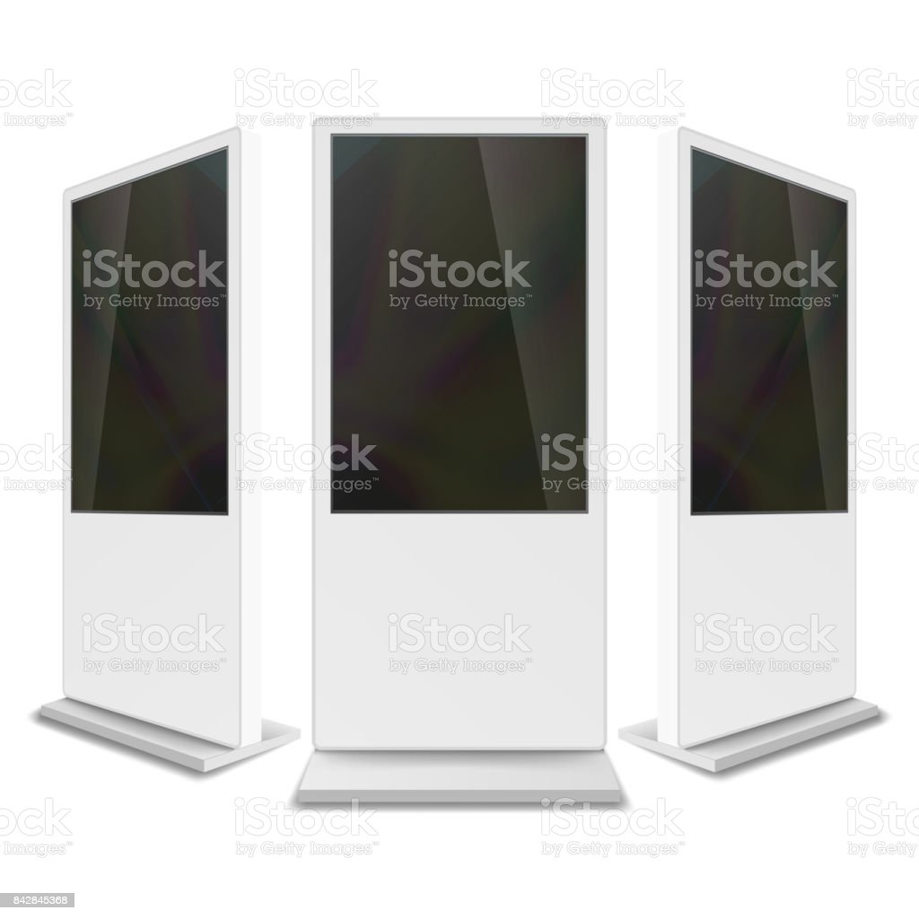 Advertising Touch Screen Vector. Mock Up For Showcase Products, Events, Advertising. Floor Standing. Isolated Illustration vector art illustration
