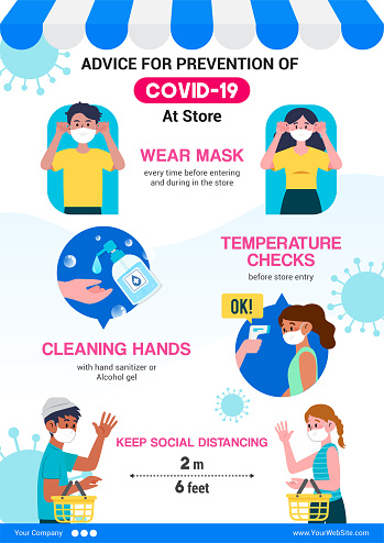 Advice for prevention of COVID-19 at store infographic poster design. vector illustration