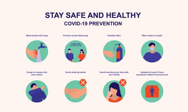 コロナウイルスから安全に滞在する方法についての一般の人々のためのアドバイス.covid-19 コロナウイルスアウトブレイク防止コンセプト.ベクトルフラット漫画のイラスト。 - くしゃみ 日本人点のイラスト素材/クリップアート素材/マンガ素材/アイコン素材