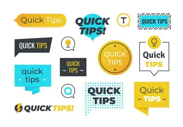 建議形狀。快速提示有用的技巧標誌和徽標, 提示提醒橫幅設計。有用的建議徽章的向量集 - 忠告 幅插畫檔、美工圖案、卡通及圖標